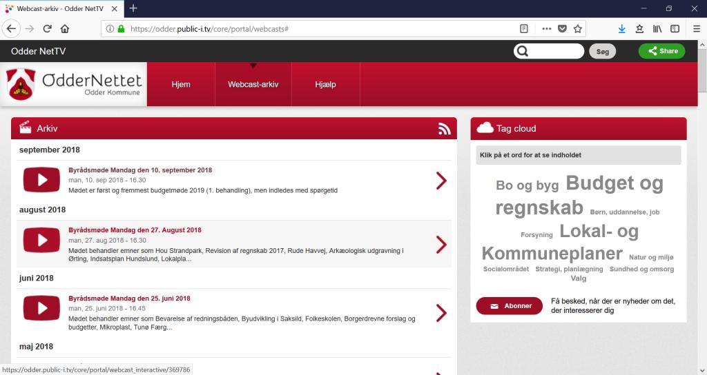 Webcastarkiv: Fra Odder Kommune